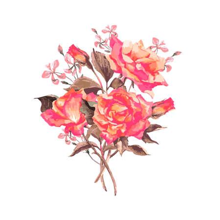 葡萄收穫期: 復古水彩賀卡盛開的紅玫瑰,矢量插圖