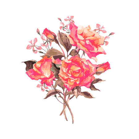 vintage: Veterán akvarell üdvözlőlap Blooming Red Roses, vektoros illusztráció
