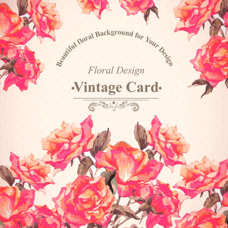 vector greeting card: Vintage Watercolor Greeting Card with Blooming Red Roses, Vector Illustration Illustration