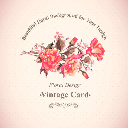 botanical gardens: Vintage Watercolor Greeting Card with Blooming Red Roses, Vector Illustration Illustration