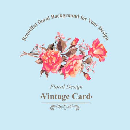 aniversario de boda: Tarjeta de felicitación de la vendimia de la acuarela con Blooming Rosas rojas, ilustración vectorial