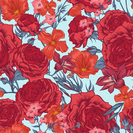 Beautiful Seamless Background with Victorian Roses in Vintage Style, Vector illustration Vettoriali