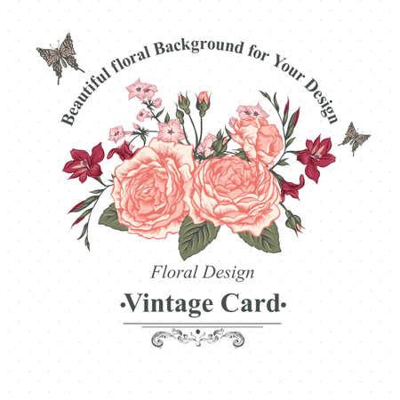 cartoline vittoriane: Beautiful Roses vittoriana in stile vintage per Inviti, Bouquet estivo con farfalle, botanica vettore