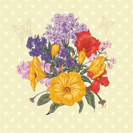 Beautiful Spring and Summer Floral Bouquet for Invitation Cards with Butterflies, Botanical Vector illustration on Polka Dot Background Stock fotó - 41136782