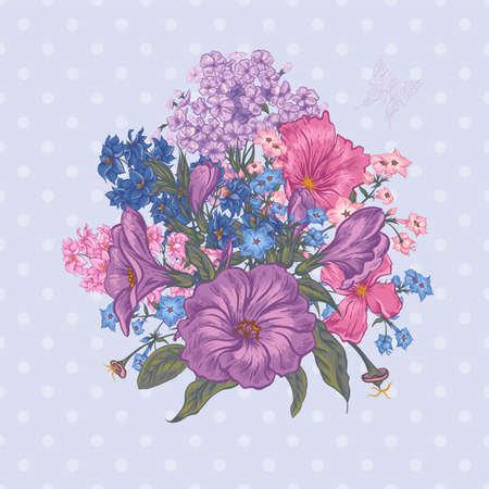 Beautiful Spring and Summer Floral Bouquet for Invitation Cards with Butterflies, Botanical Vector illustration on Polka Dot Background Illustration