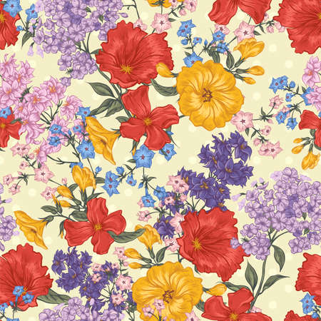 pattern vintage: Beautiful Seamless Background with Spring and Summer Flowers, Vector illustration on Polka Dot Background