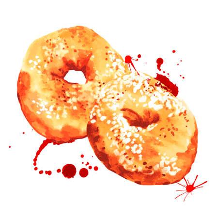 Watercolor donuts, sweet hand drawn vector illustration Vector