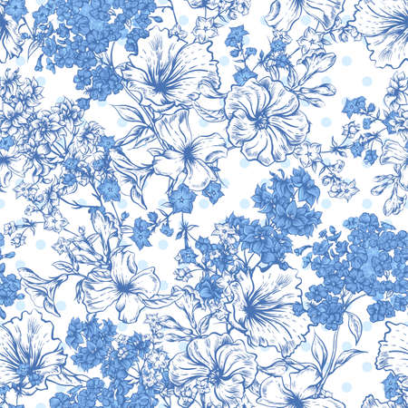 botanical gardens: Blue Seamless Background with Spring and Summer Flowers, Vector illustration on Polka Dot Background Illustration