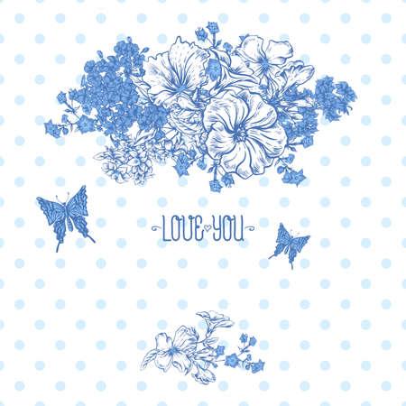 botanical gardens: Blue Spring and Summer Floral Bouquet for Invitation Cards with Butterflies, Botanical Vector illustration on Polka Dot Background Illustration