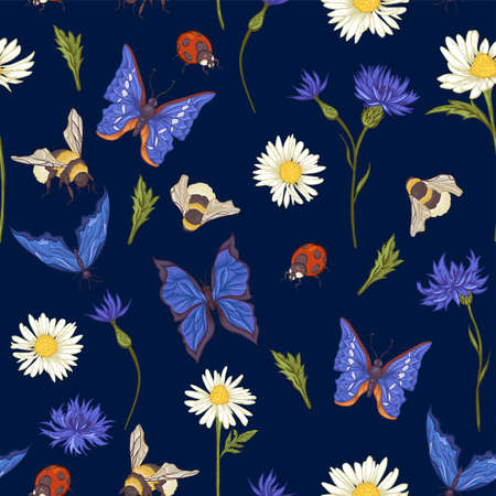 Summer Vintage Seamless Pattern with Blooming Chamomile Daisies Ladybird Cornflowers Bumblebee Bee and Blue Butterflies. Vector Illustration Vector