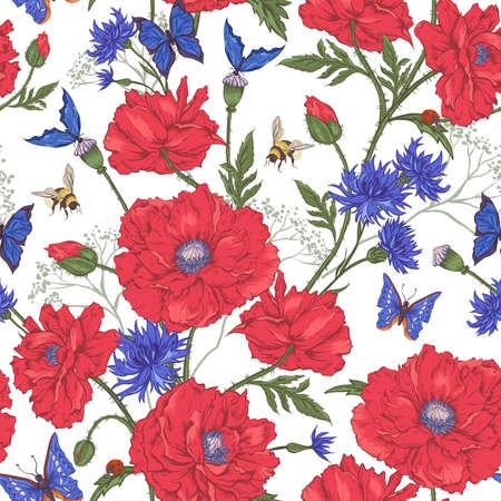 dull: Verano floral de la vendimia Modelo incons�til con Blooming Red Amapolas Cornflowers Mariquita abejorro abeja y Mariposas azules. Ilustraci�n vectorial