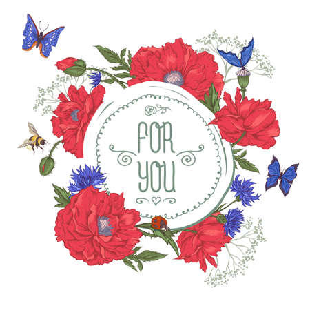 dull: Summer Vintage Greeting Card with Blooming Red Poppies Cornflowers Ladybird Bumblebee Bee and Blue Butterflies. Vector Illustration on White Background