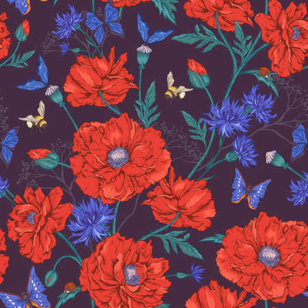 Summer Vintage Floral Seamless Pattern with Blooming Red Poppies Cornflowers Ladybird Bumblebee Bee and Blue Butterflies. Vector Illustration Vector