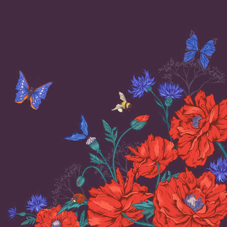 Summer Vintage Greeting Card with Blooming Red Poppies Cornflowers Ladybird and Bumblebee Bee and Blue Butterflies. Vector Illustration on Dark Background Vector