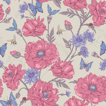 ladybird: Summer Vintage Floral Seamless Pattern with Blooming Poppies Cornflowers Ladybird Bumblebee and Bee and Blue Butterflies. Vector Shabby Illustration