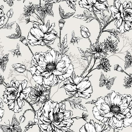 mazzo di fiori: Estate in bianco e nero Vintage Floral seamless con papaveri in fiore Cornflowers, Coccinella Bumblebee e Bee e farfalle. Vector Illustration Shabby