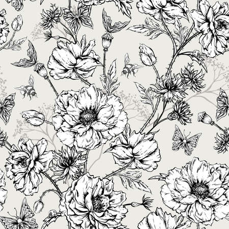 abeja: Patrón de verano blanco y negro floral de la vendimia inconsútil con las florecientes Amapolas, Cornflowers Mariquita abejorro y abejas y mariposas. Vector lamentable Ilustración