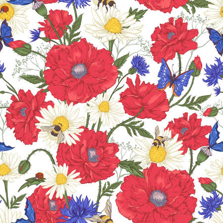 Summer Vintage Floral Seamless Pattern with Blooming Red Poppies Chamomile Ladybird and Daisies Cornflowers Bumblebee Bee and Blue Butterflies. Vector Illustration