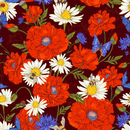 seamless floral: Summer Vintage Floral Seamless Pattern with Blooming Red Poppies Chamomile Ladybird and Daisies Cornflowers Bumblebee Bee and Blue Butterflies. Vector Illustration
