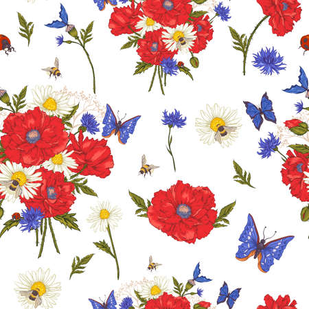 Summer Vintage Floral Seamless Pattern with Blooming Red Poppies Chamomile Ladybird and Daisies Cornflowers Bumblebee Bee and Blue Butterflies. Vector Illustration Vector