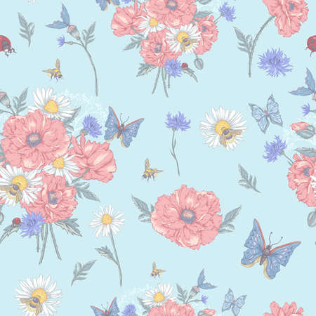 dull: Summer Vintage Floral Seamless Pattern with Blooming Red Poppies Chamomile Ladybird and Daisies Cornflowers Bumblebee Bee and Blue Butterflies. Vector Shabby Illustration