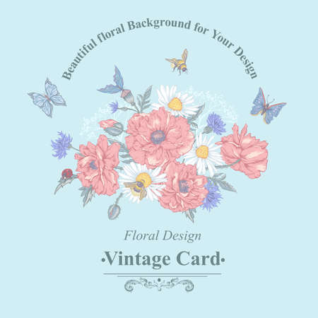 dull: Summer Vintage Greeting Card with Blooming Red Poppies Chamomile Ladybird Daisies Cornflowers Bumblebee Bee and Blue Butterflies. Vector Shabby Illustration