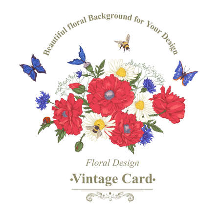 ladybird: Summer Vintage Greeting Card with Blooming Red Poppies Chamomile Ladybird Daisies Cornflowers Bumblebee Bee and Blue Butterflies. Vector Shabby Illustration