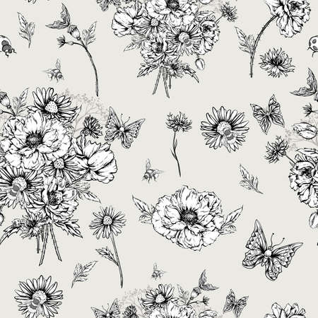 bumblebee: Summer Monochrome Vintage Floral Seamless Pattern with Blooming Poppies Cornflowers, Ladybird Bumblebee and Bee and Butterflies. Vector Shabby Illustration