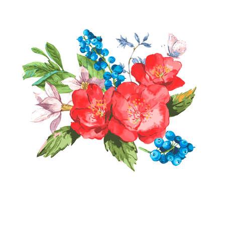 jardines con flores: Tarjeta de felicitación de la vendimia de la acuarela con Flores florecientes. Rosas y arándanos, ilustración vectorial en un fondo blanco