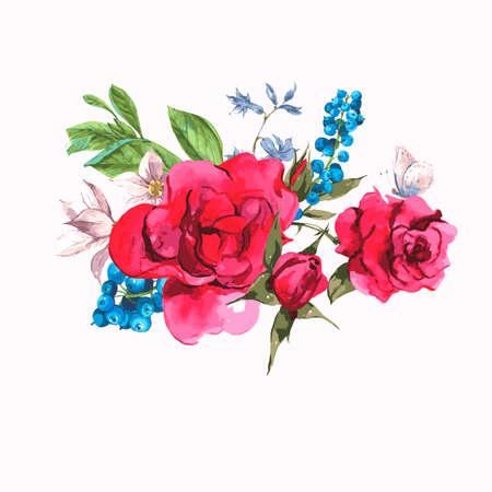 animal print: Tarjeta de felicitación de la vendimia de la acuarela con Flores florecientes. Rosas y arándanos, ilustración vectorial en un fondo blanco