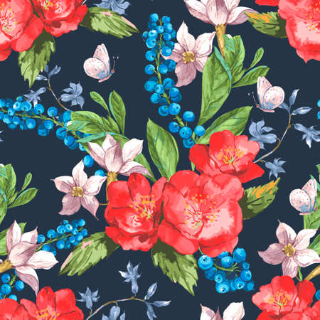 red rose bouquet: Vintage Seamless Watercolor Background with Blooming Red Roses and Blueberries, Vector Illustration Illustration