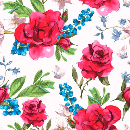 seamless pattern: Vintage Seamless Watercolor Background with Blooming Red Roses and Blueberries, Vector Illustration Illustration