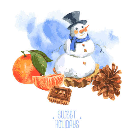 Christmas Watercolor New Year card with Snowman Cupcakes, Cinnamon and Cookies, vector watercolor illustration. Illustration