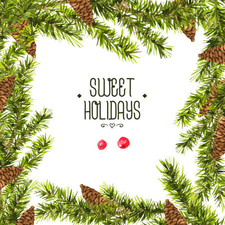 evergreen branch: Tarjeta de invitación de la vendimia de la acuarela de Navidad con ramas de abeto, conos y bolas de Navidad vintage, ilustración vectorial acuarela.