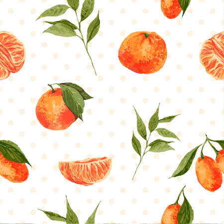 Seamless watercolor background with oranges and tangerines, vector watercolor illustration. Vettoriali