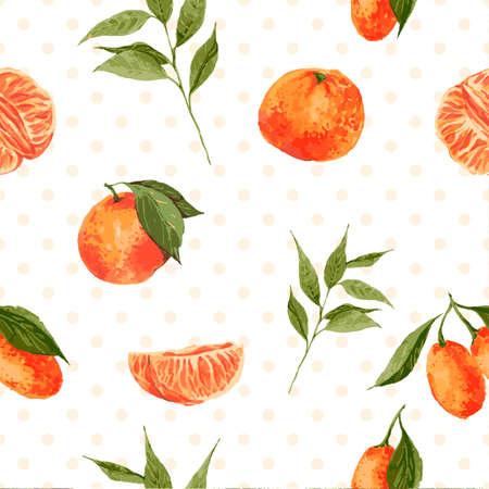 Naadloze aquarel achtergrond met sinaasappelen en mandarijnen, vector aquarel illustratie.