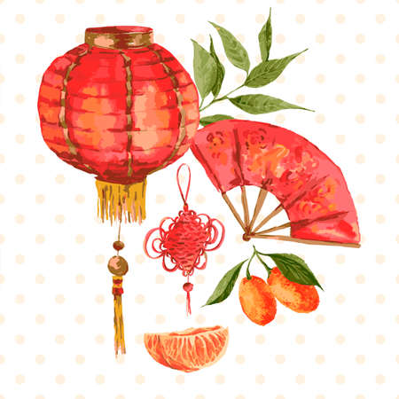 chinese watercolor: Background Oriental Chinese New Year Element  Lights Fan Mandarin, vector watercolor illustration.
