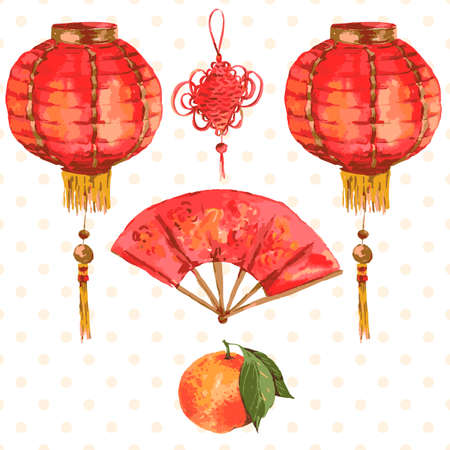 Background Oriental Chinese New Year Element  Lights Fan Mandarin, vector watercolor illustration.