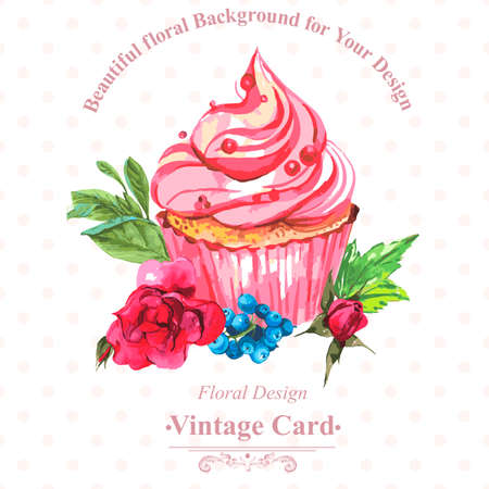 Vintage invitation card with watercolor cupcakes and flowers with polka dots, vector watercolor illustration. Ilustração