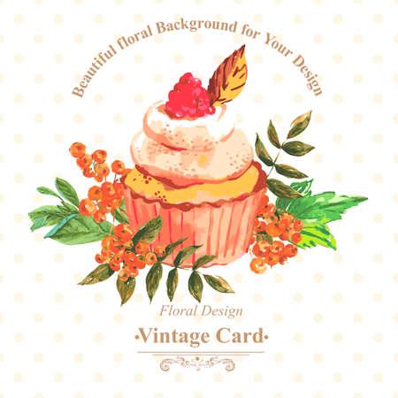 Vintage uitnodigingskaart met waterverf cupcakes en bloemen met stippen, vector aquarel illustratie.