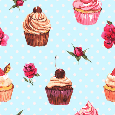 Watercolor vintage seamless background with cupcakes and flowers with polka dots, vector watercolor illustration.
