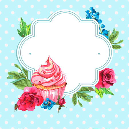 tea party: Vintage invitation card with watercolor cupcakes and flowers with polka dots, vector watercolor illustration. Illustration