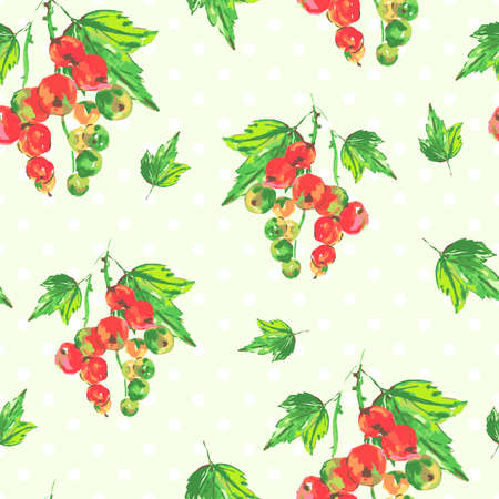 currants: Watercolor nature seamless background with red currants