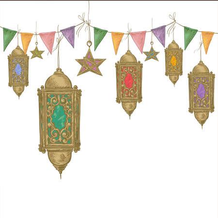 Traditional greeting card with arabic  lantern and stars, Ramadan Kareem hand drawn vector illustration
