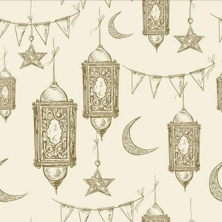 lantern: Traditional seamless background with arabic  lantern, stars and moon, Ramadan Kareem hand drawn vector illustration