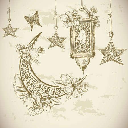 lantern: Traditional greeting card with arabic  lantern, flowers and stars, Ramadan Kareem hand drawn vector illustration Illustration
