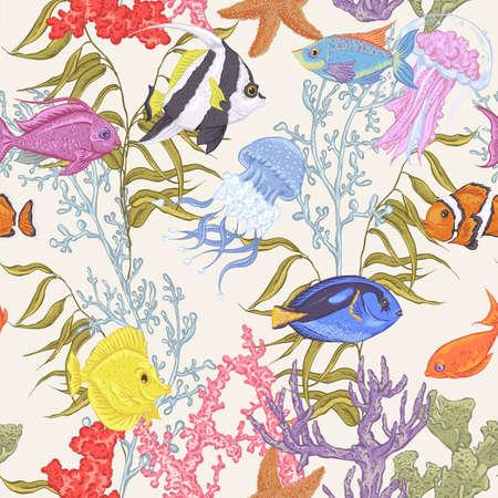 sea animals: Sea life seamless background, underwater vector illustration, fish and seaweed