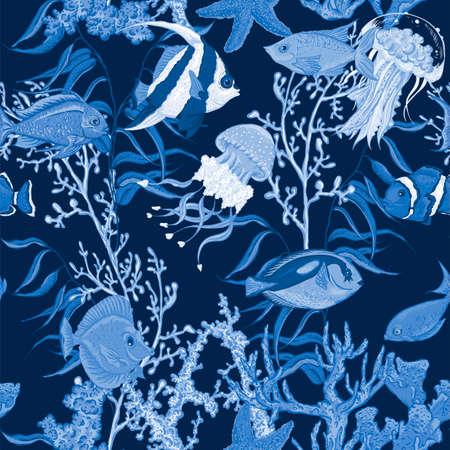 sealife: Blue sea life seamless background, underwater vector illustration, fish and seaweed Illustration