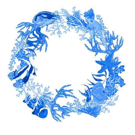 reef: Blue Sea life Vintage Round Frame with Fish and Seaweed with Place for Your Text. Underwater Vector Illustration