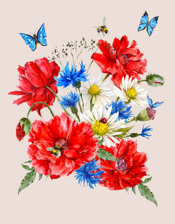 ladybird: Summer Vintage Watercolor Greeting Card with Blooming Red Poppies Chamomile Ladybird and Daisies Cornflowers Bumblebee Bee and Blue Butterflies, Watercolor illustration.